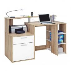Georgia Computer Desk In Brushed Oak And Pearl White With 1 Door