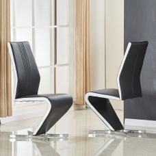 Gia Dining Chair In Black And White Faux Leather In A Pair