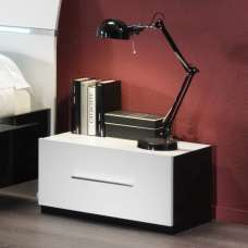 Gianna Bedside Cabinet In Black And White Gloss With 1 Drawer