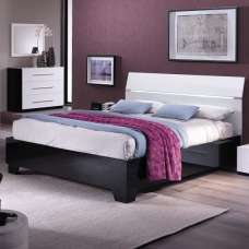 Gianna Modern Double Bed In Black And White Gloss