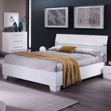 Gianna Modern Double Bed In White Gloss