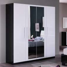 Gianna Mirrored Wardrobe Large In Black And White Gloss