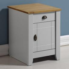 Gibson Wooden Bedside Cabinet In Grey And Oak