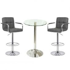 Gino Glass Bar Table And 2 Leoni Bar Stools In Charcoal