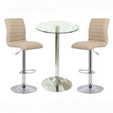 Gino Bar Table In Clear Glass With 2 Ripple Stone Bar Stools