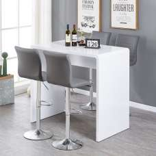 Glacier Bar Table In White Gloss With 4 Ripple Grey Stools