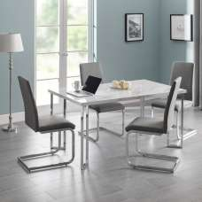 Glacier Marble Effect Dining Table In White And 4 Grey Chairs