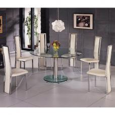 Maxi Round Clear Glass Dining Table And 6 G601 Dining Chairs