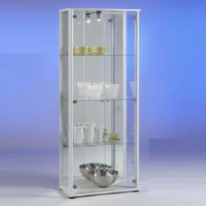 Classico Glass Display Cabinet In White With Light