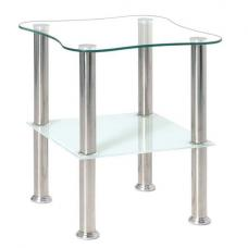 Clear Glass Side Table With Frosted Undershelf