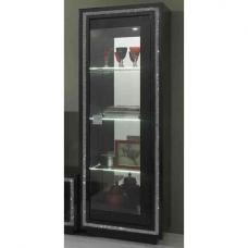 Gloria Display Cabinet In Black Gloss With Crystals And LED