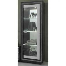 Gloria Display Cabinet In Black And White High Gloss And LED