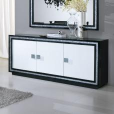 Gloria Sideboard In Black And White High Gloss With Crystals