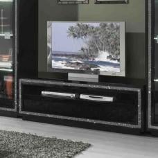 Gloria TV Stand In Black High Gloss With Crystal Details