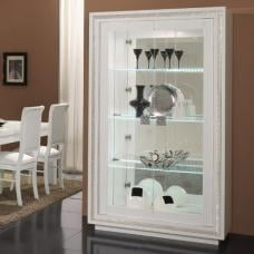 Gloria Wide Display Cabinet In White Gloss Crystal And LED