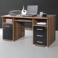 Ergonomic Computer Workstation In Walnut And Black