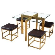 Gloucester Glass Dining Set With Brown Faux Leather Stools