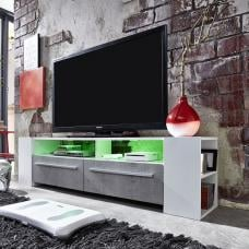 Glymer LCD TV Stand In White With Gloss Fronts And LED Lighting