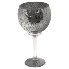 Mosaic Hurricane Goblet In Black Glass