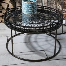 Sennett Glass Coffee Table Round In Black With Metal Underframe