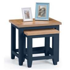 Grecian Wooden Nest of 2 Tables In Midnight Blue And Oak Top
