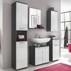 Greeba Bathroom Set In Grey With High Gloss White Fronts