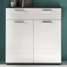 Greeba Shoe Cabinet In Grey With High Gloss White Fronts