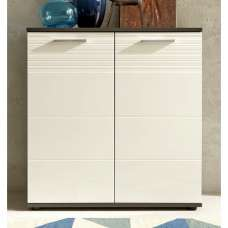 Greeba Storage Cabinet In Grey With High Gloss White Fronts