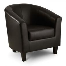 Grossi Modern Tub Chair In Dark Brown Faux Leather