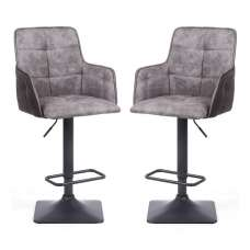 Guerro Fabric Bar Stools In Light Grey With Square Base In Pair