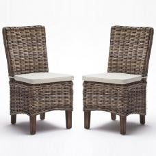 Hadley Rattan Dining Chair In Natural Grey In A Pair