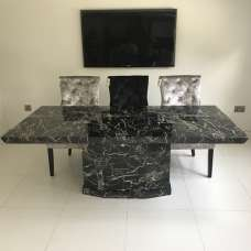 Hamlet Marble Large Dining Table Rectangular In Black