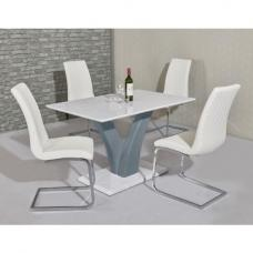 Hanbury Dining Set In White Grey Gloss With 4 Orly White Chairs