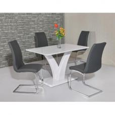 Hanbury Dining Table In White Gloss With 4 Orly Grey Chairs