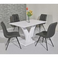 Hanbury Dining Table In White High Gloss With 4 Savoy Chairs