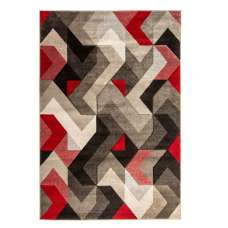 Hand Carved Aurora Grey And Red Rug