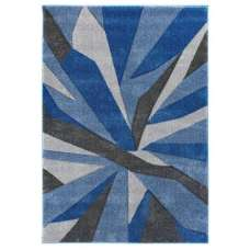 Hand Carved Shatter Blue And Grey Rug