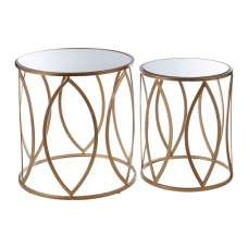Hannah Set Of 2 Mirrored Glass Side Tables With Gold Finish Base