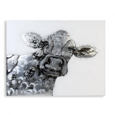 Happy Cow Oil Painting In Canvas On Wooden Frame
