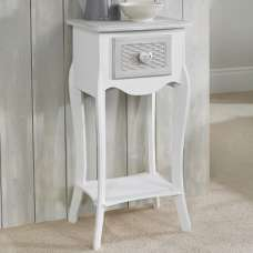 Harerra Wooden Bedside Table In White And Grey With 1 Drawer