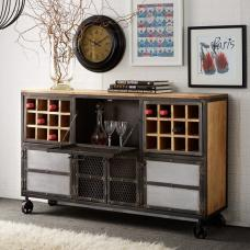 Harlow Display Wine Cabinet In Solid Hardwood Reclaimed Metal
