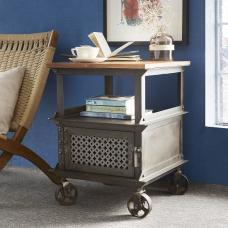 Harlow Side Table In Hardwood And Reclaimed Metal With Castors