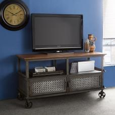 Harlow TV Stand In Hardwood And Reclaimed Metal With 2 Doors