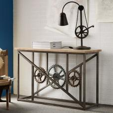 Harlow Console Table In Hardwood And Reclaimed Metal With Wheel