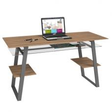 Harriet Wooden Computer Desk In Oak And Anthracite Legs