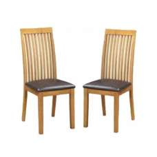 Hart Wooden Slatback Dining Chairs In Oak In A Pair
