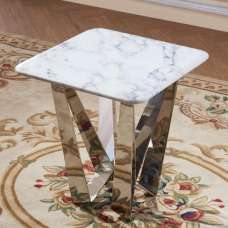 Harvell Marble Effect Lamp Table With Stainless Steel Base