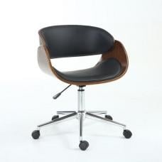 Hawley Home Office Chair In Black PU And Walnut With Castors
