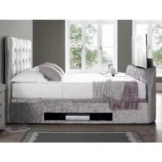 Hayden Ottoman Double TV Bed In Crushed Velvet Silver