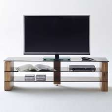 Hayley Glass TV Stand In Bronze With Knotty Oak Legs